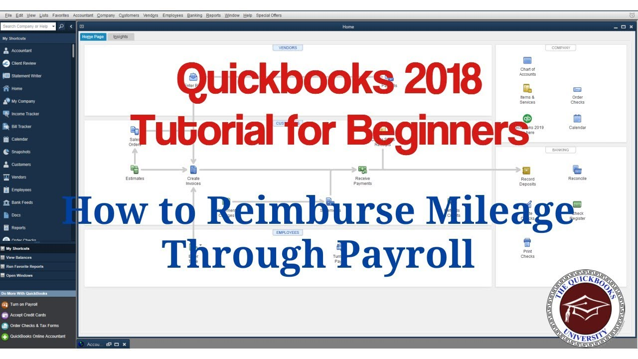 Quickbooks 2018 Tutorial for Beginners - How to Reimburse Mileage Through  Payroll