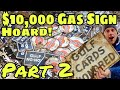 """EPIC """"No Nox Hoard"""" Part 2! Gulf Gas Sign Cache Porcelain Dump dig! Pickers metal detecting pick!!"""