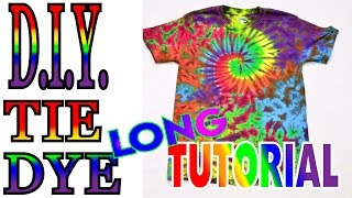 Tie Dye a Spiral Crinkle Rainbow Shirt [Long Tutorial] #52