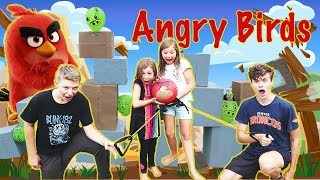 Real Life ANGRY BIRDS Game DIY Challenge - SURPRISE Ending - $$$ KJAR