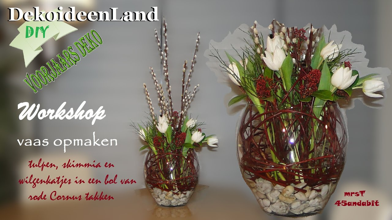 diy fr hlings deko im glas bloemschikken tulpen in vaas flower arrangement in vase. Black Bedroom Furniture Sets. Home Design Ideas