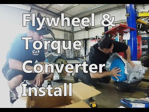Flywheel bolt-on and torque converter install on 700r4