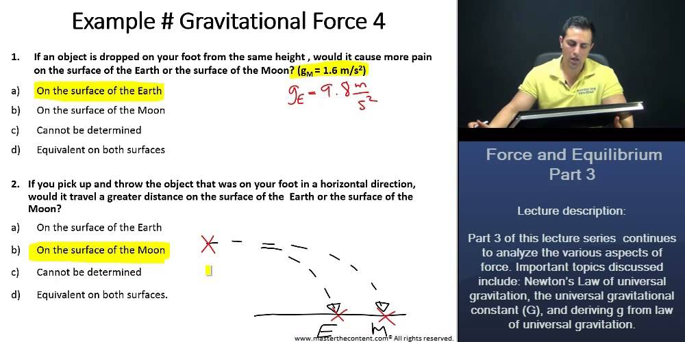 Mcat Worked Examples For Gravitational Force Conceptual And