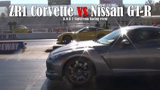 zr1 corvette vs nissan gt r drag race