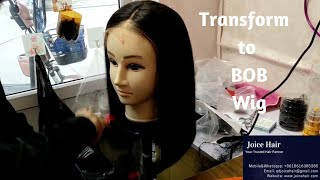 Transforming 16 inch lace Wig to 14 inch BOB | Trim the Wig