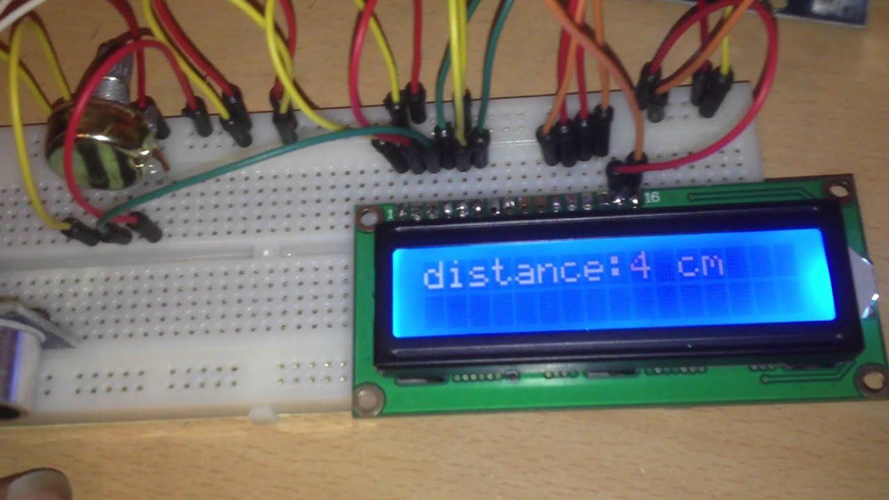 Hc sr ultrasonic distance meter lcd on a arduino uno