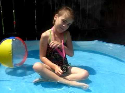 Ella thinking she is the best swimmer ever