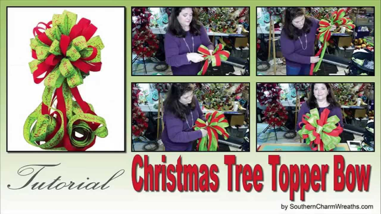how to make a tree topper bow youtube. Black Bedroom Furniture Sets. Home Design Ideas