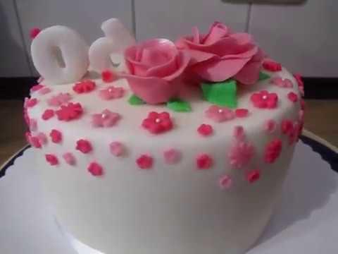 Geburtstags Torte Zum 60geburtstag Fondant Rosen Und Blumen Youtube