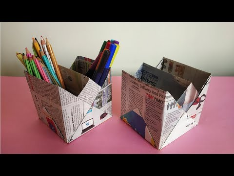 How to make Newspaper Pen Stand | Pen Holder | Recycled Craft Ideas | Quick and Easy
