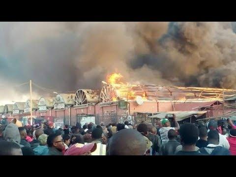 Lusaka City Market burns down in Zambia