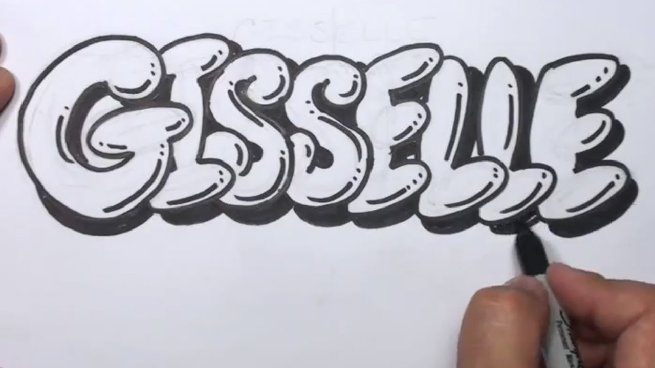 How To Draw Graffiti Letters Write Gisselle In Bubble Letters Mat Pertaining To How To Draw Graffiti Letters