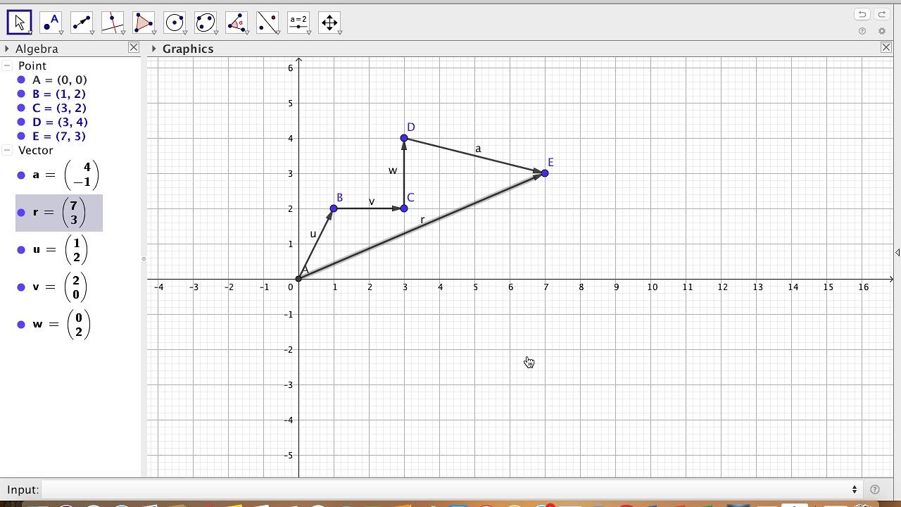 GeoGebra #45  Vector Addition Using Polygon Method