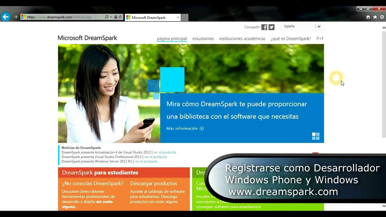 registrarse  o desarrollador windows phone y marketplace