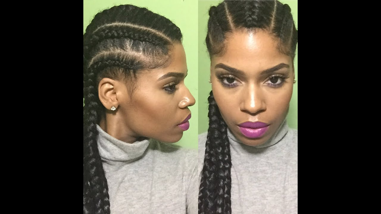 Natural Hair Protective Style With Jumbo Straight Back