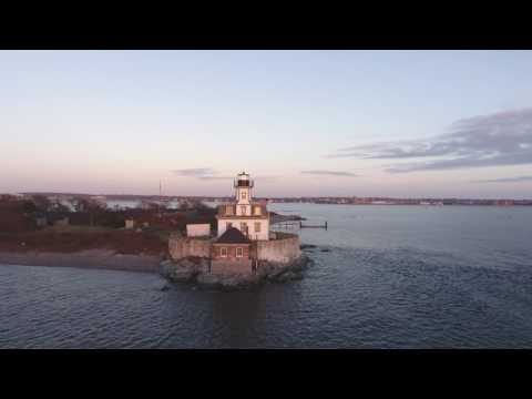 Rose Island Lighthouse aerial 4K