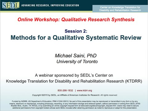 Methods For A Qualitative Systematic Review