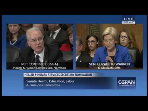 Elizabeth Warren GRILLS Tom Price at Senate Confirmation Hearing for HHS 1/18/17