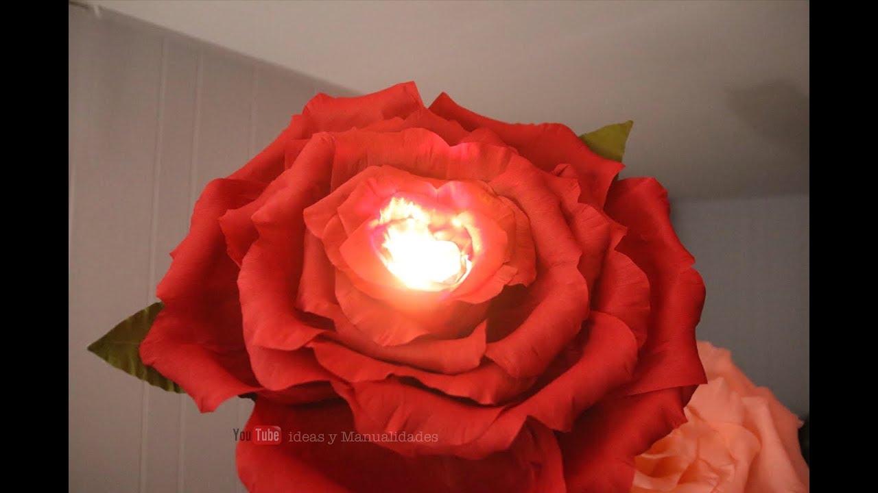 Flores gigantes de papel y lampara a la vez 🌹🥀| Decoraciones para eventos  especiales 🌹🌹🌹 - YouTube