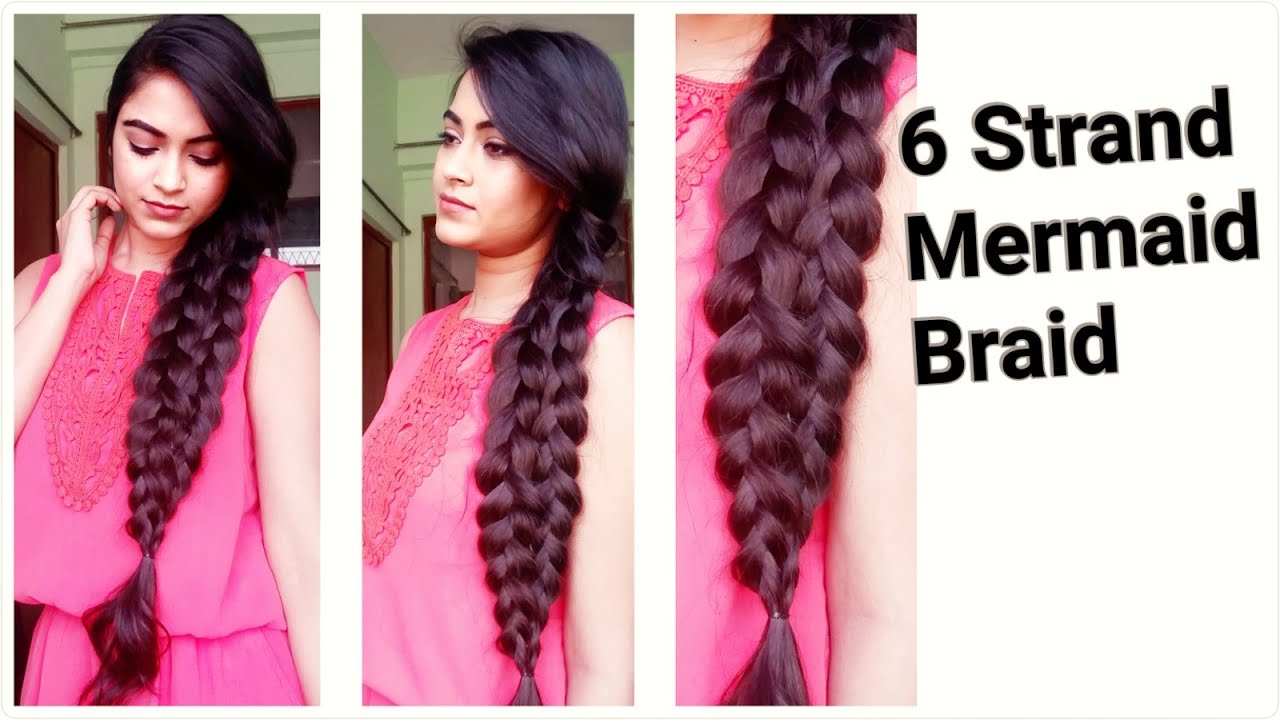 easy hairstyles for medium to long hair for college/work//6 strand mermaid  braid//indian hairstyles