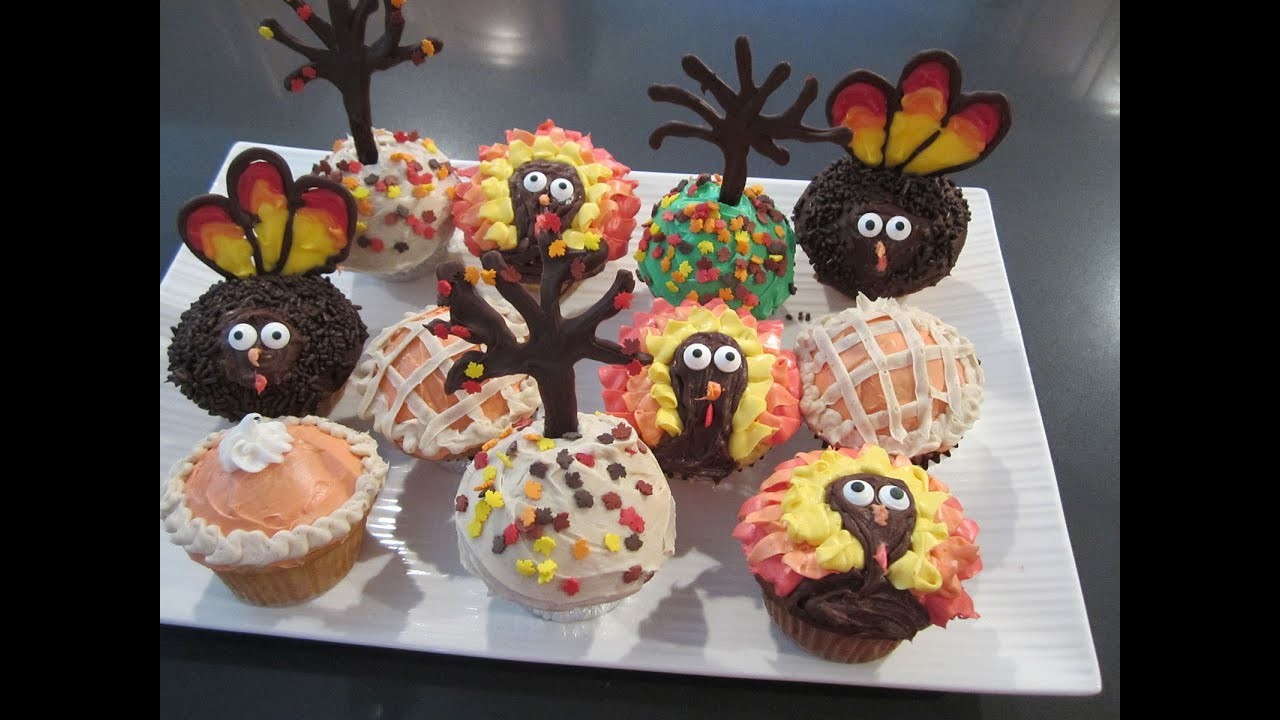 Cute Cake Ideas For Thanksgiving : Thanksgiving Cupcakes - Turkeys, Trees, & Pies - Super ...