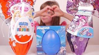 [OEUF & JOUET] Oeufs Surprises Kinder Disney Princess, Monster High et Playmobil - Unboxing Eggs