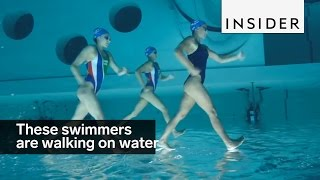 These swimmers are walking on water