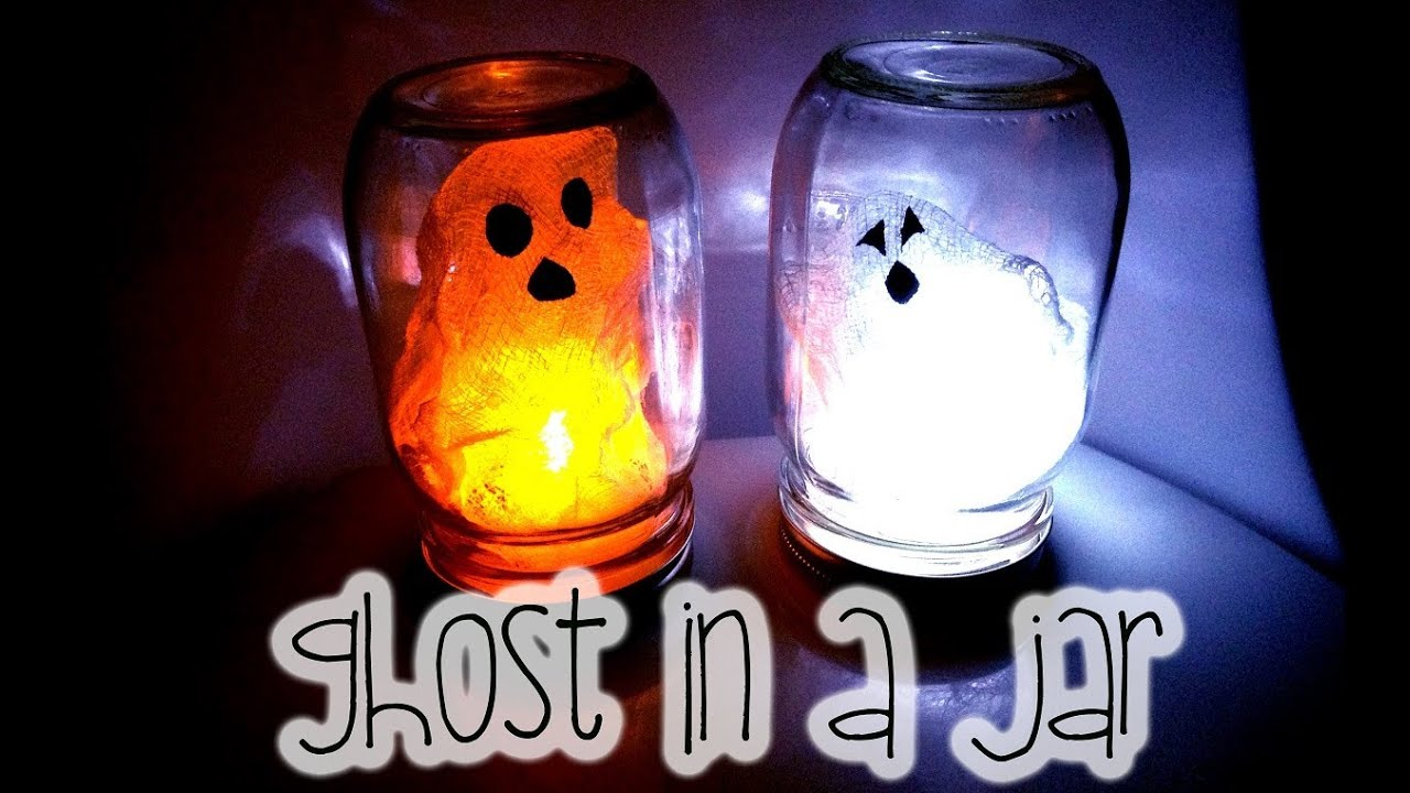 halloween kids craft diy ghost in a jar youtube - Diy Halloween Decorations For Kids