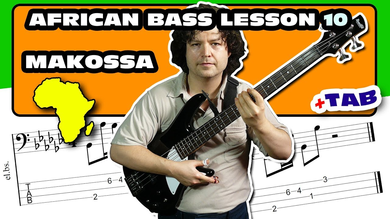 African Makossa Bass Guitar Lesson with TAB Download – 10 – Online