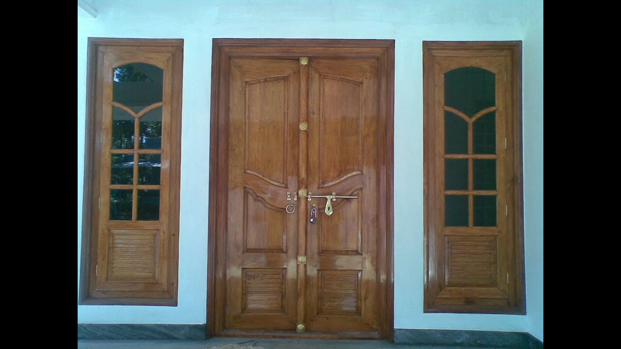 Kerala model double door wooden design youtube for Window glass design in kerala