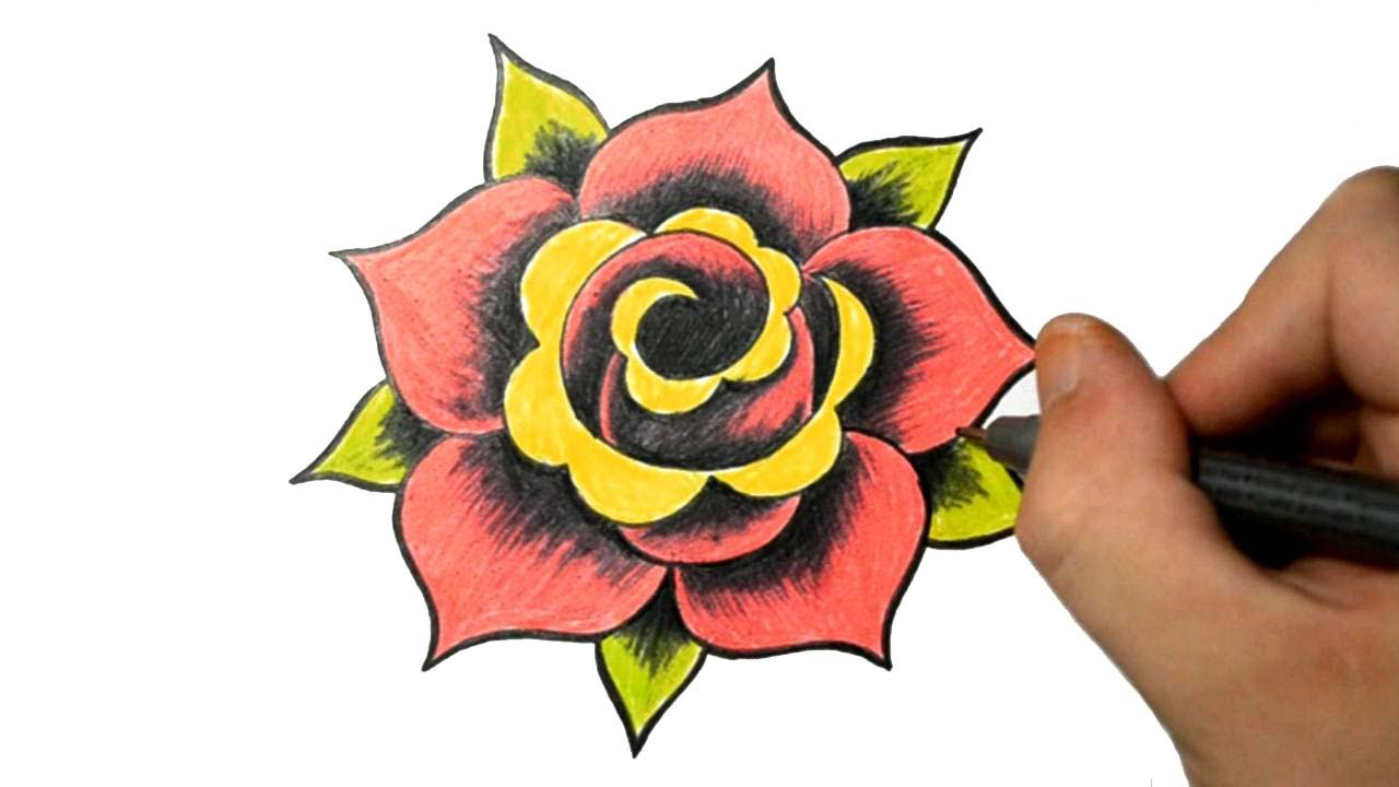 be92a24fb How to Draw a Simple Rose Tattoo Design - YouTube