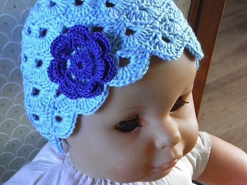 Baby Mütze Häkeln m. Muscheln muster Baby hat crochet*Tutorial Handarbeit