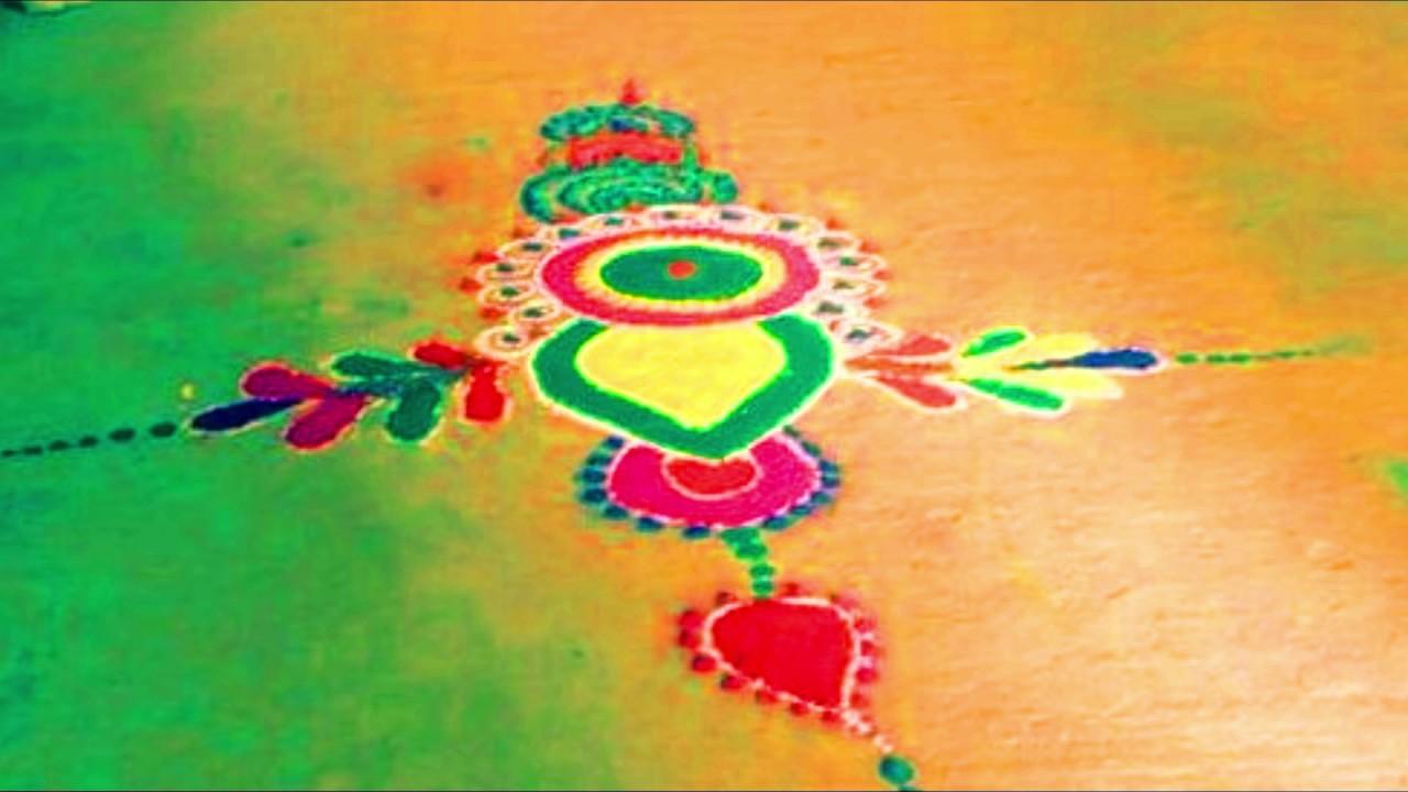 Easy Diwali rangoli desgin 2018/Best rangoli idea for diwali #1