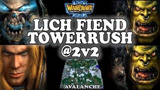 Grubby | Warcraft 3 TFT | 1.29 | UD+HU v ORC+ORC on Avalanche - Lich Fiend Towerrush @ 2v2