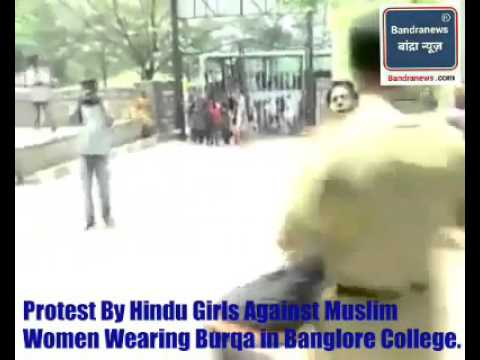 Protest By Hindu Girls Against Muslim Women Wearing Burqa in Banglore College.