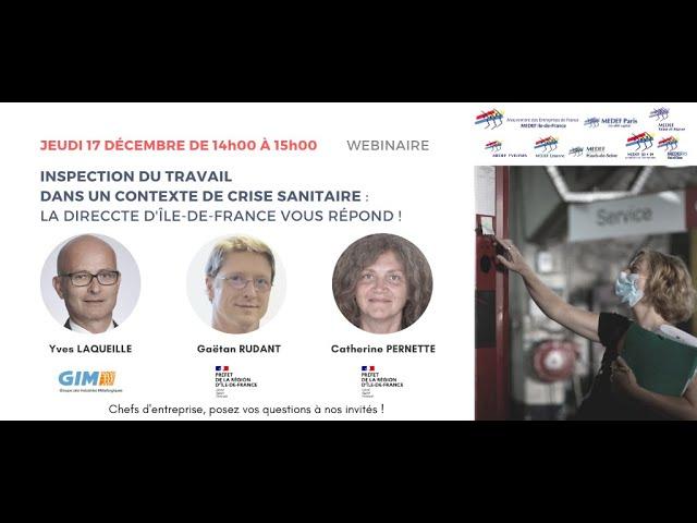 INSPECTION DU TRAVAIL DANS UN CONTEXTE DE CRISE SANITAIRE La DIRECCTE Île-de-France vous répond !