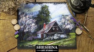How to draw a spring village landscape with soft pastels 🎨 REAL-TIME