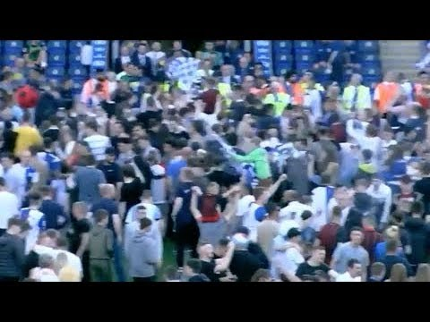 Blackburn Rovers vs Oxford United - Pitch Invasion & Fight - Poor Scenes!!!