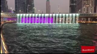 Dubai water canal and waterfall 2016 on Dubai National Day