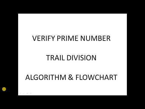 Verify Prime number Trial Division algorithm and flowchart