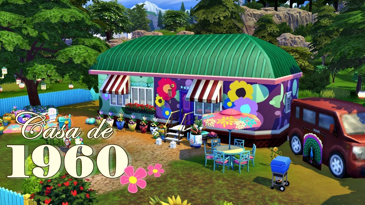 Casa Hippies : Constrindo uma casa de 1960 hippie house │the sims 4 speed build