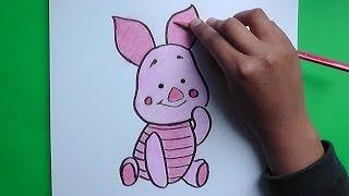 Dibujo de Piglet (Winnie Pooh) - Drawing Piglet