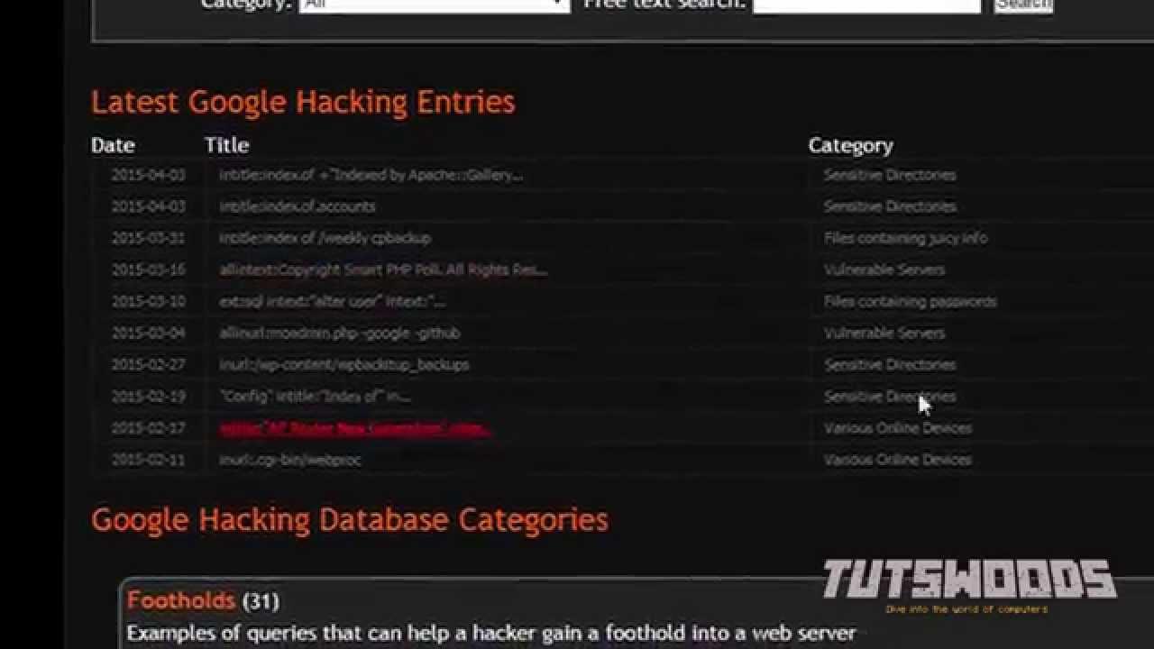 Google hacking and Google dorks hacking