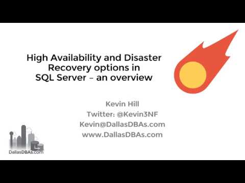 SQL Server High Availability And Disaster Recovery Overview