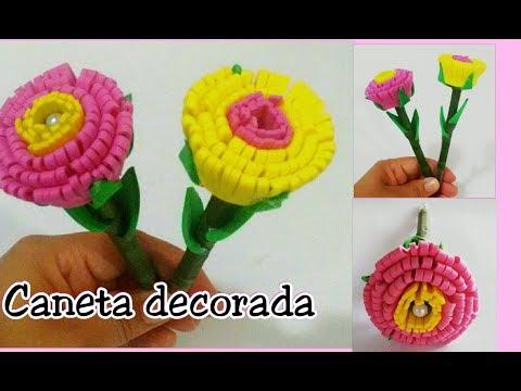 Caneta decorada com flor de EVA