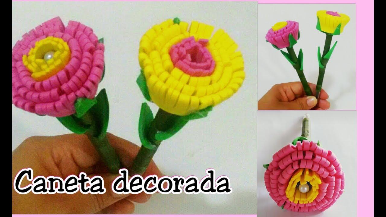 Armario Pequeno Para Banheiro ~ Caneta decorada com flor de EVA YouTube