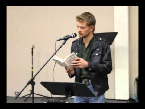 Benny James at Poetry Night reading Dante's Inferno Canto 3 Italian and English