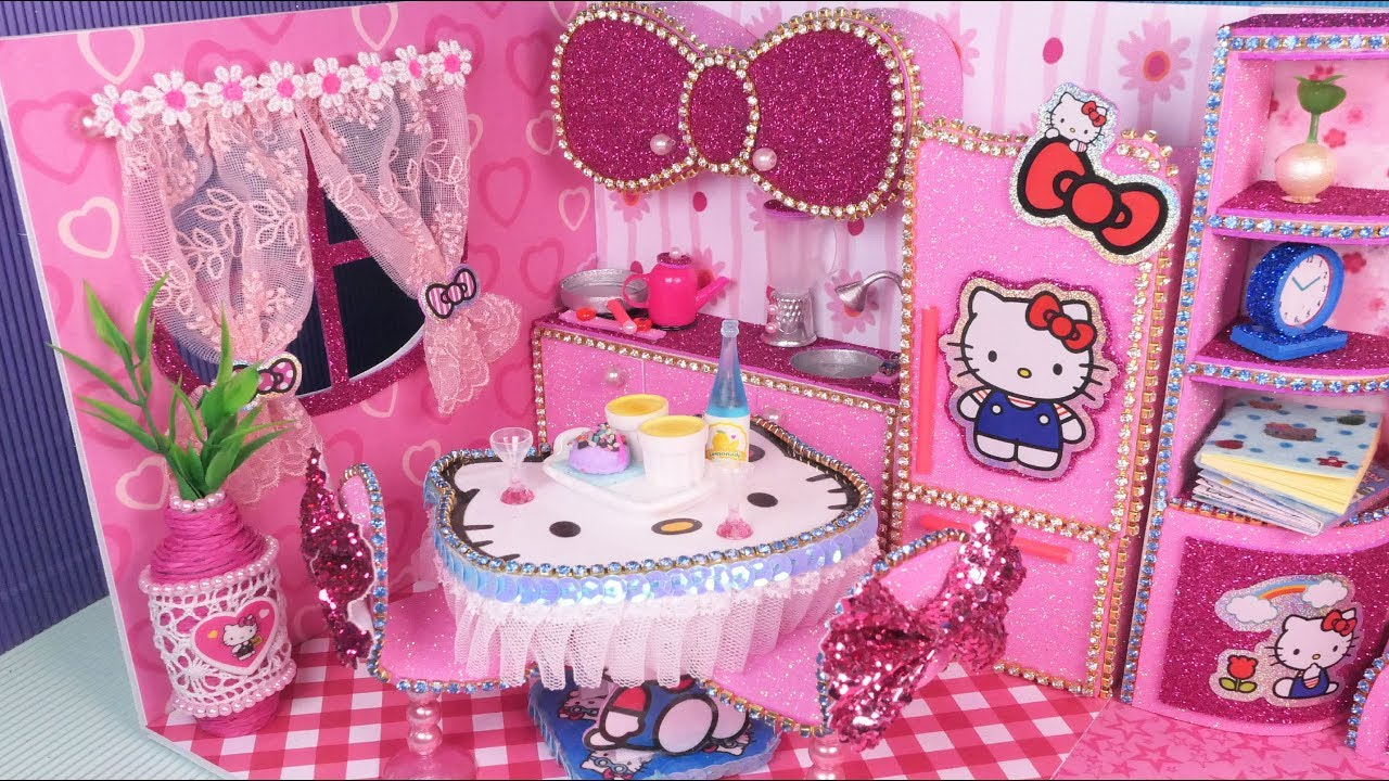 DIY Miniature Hello Kitty Dollhouse~ Kitchen Room Decor ...