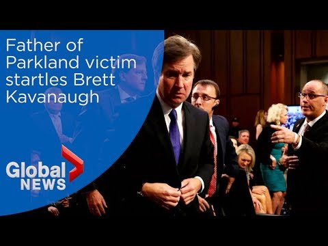Supreme Court nominee Brett Kavanaugh startled as Parkland father reaches out to shake hands