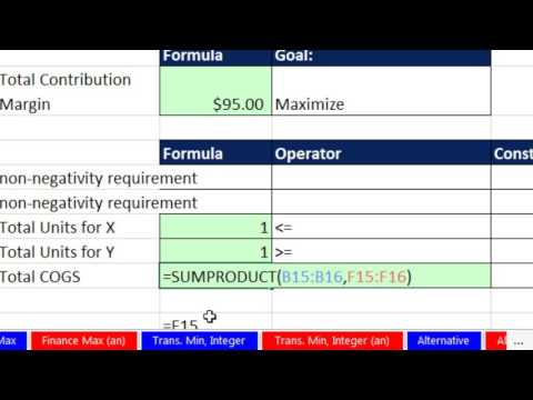 Basic Excel Business Analytics #58 Excel Solver to Maximize Contribution Margin